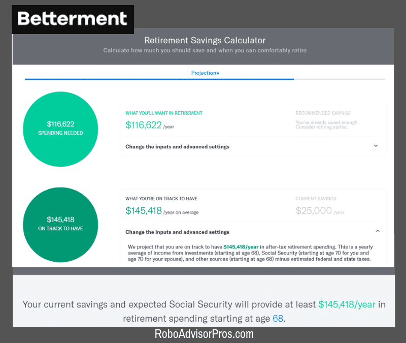 Betterment Retirement Savings Calculator 2019