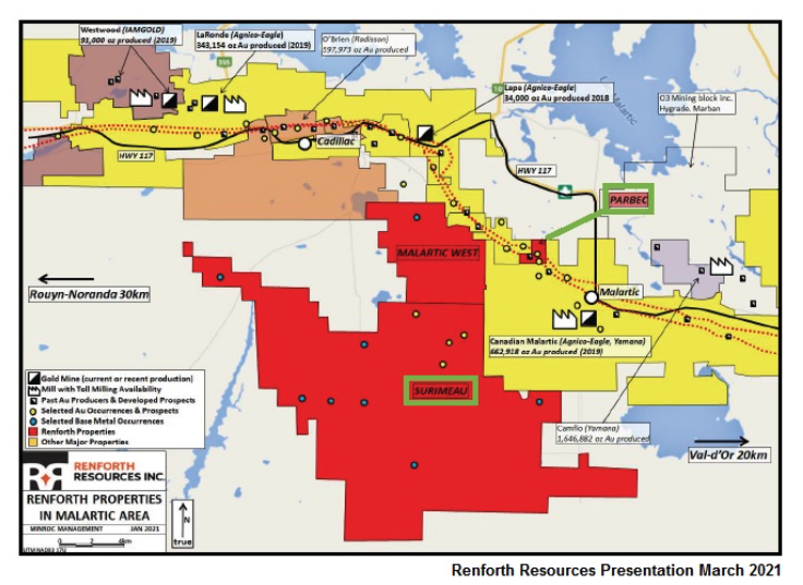 RFHRF: Renforth Resources advancing Parbec Open-Pit Gold Project & District-Scale Surimeau Nickel-Copper-Zinc Project. Parbec is on track for an updated NI 43-101 Resource Estimate that will significantly increase company's gold resource.